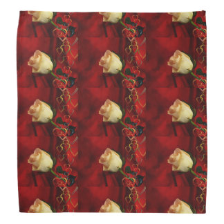 White rose on red background head kerchief