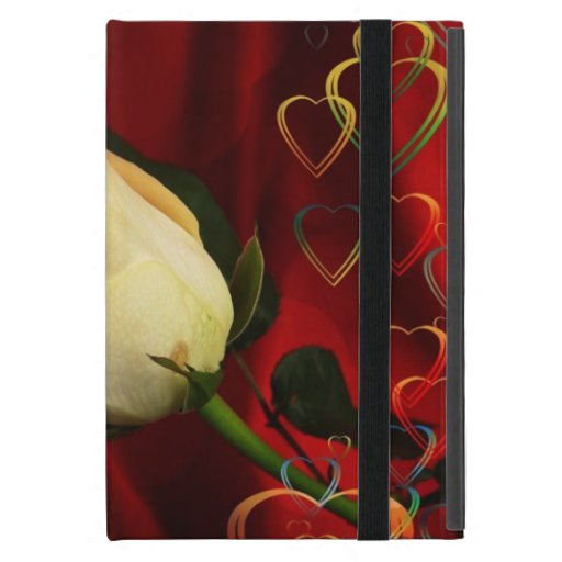 White rose on red background cases for iPad mini