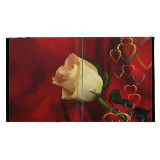 White rose on red background iPad folio covers