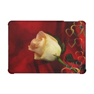 White rose on red background iPad mini cover