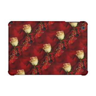 White rose on red background iPad mini covers