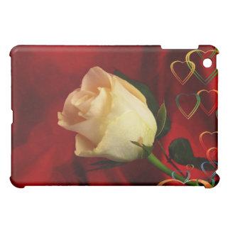 White rose on red background iPad mini case