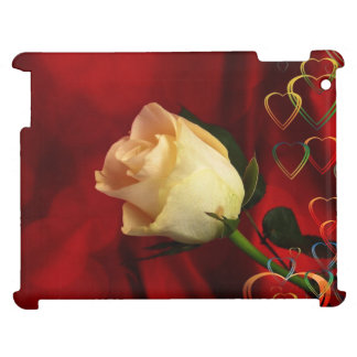White rose on red background iPad covers