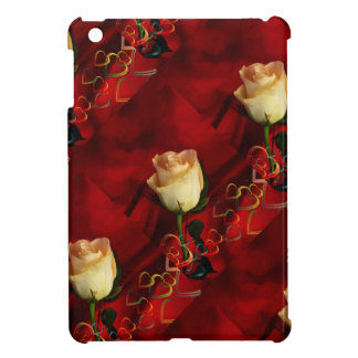 White rose on red background iPad mini cases