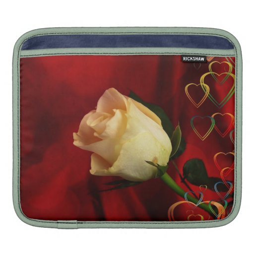 White rose on red background iPad sleeves
