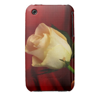 White rose on red background iPhone 3 case