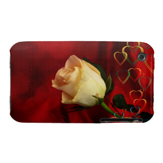 White rose on red background iPhone 3 Case-Mate case