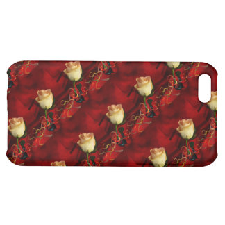 White rose on red background iPhone 5C cover