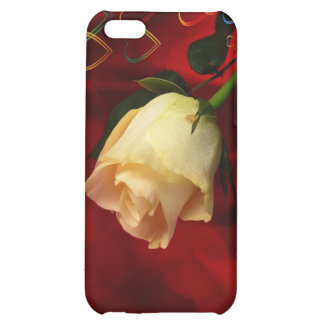 White rose on red background case for iPhone 5C