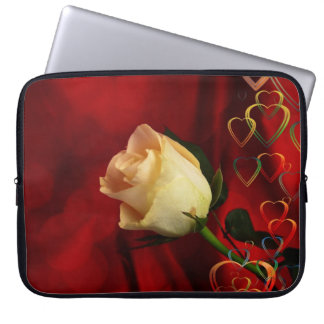 White rose on red background laptop sleeve