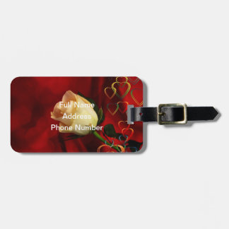 White rose on red background tag for bags