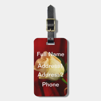 White rose on red background luggage tags