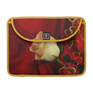 White rose on red background sleeves for MacBook pro