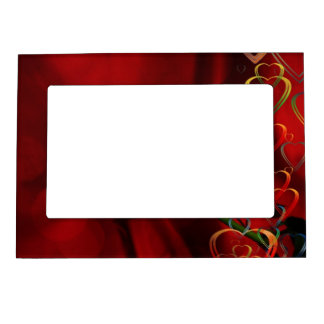 White rose on red background magnetic picture frame