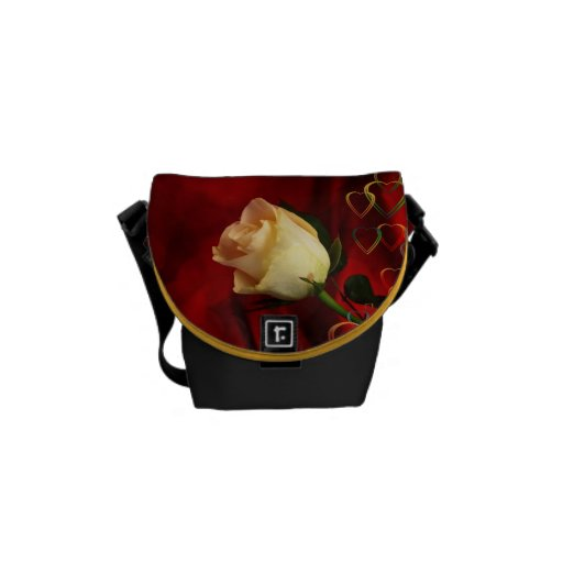 White rose on red background courier bag