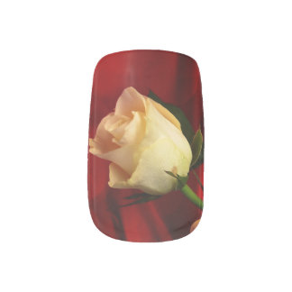 White rose on red background nail wraps
