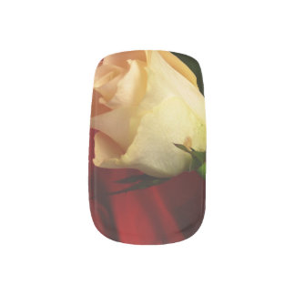 White rose on red background nails stickers