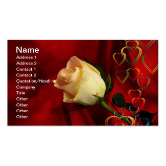 White rose on red background pack of standard business cards