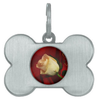 White rose on red background pet ID tags