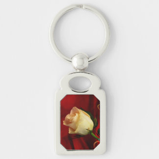 White rose on red background keychain