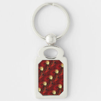 White rose on red background keychains