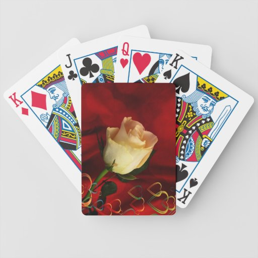 White rose on red background poker cards