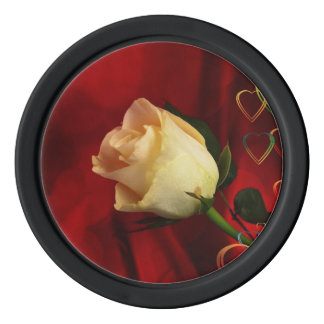 White rose on red background set of poker chips