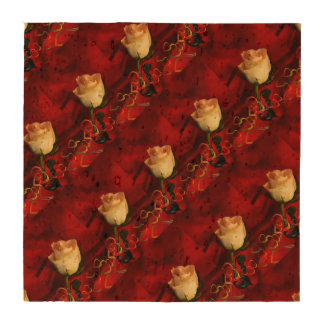 White rose on red background coasters