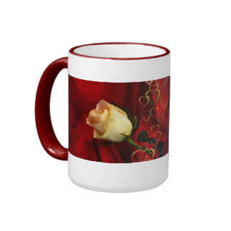 White rose on red background ringer mug