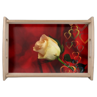 White rose on red background serving trays