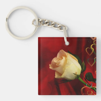 White rose on red background Single-Sided square acrylic key ring