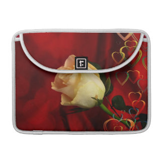 White rose on red background sleeve for MacBooks