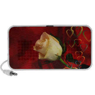 White rose on red background mini speakers