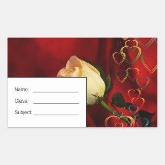 White rose on red background rectangular sticker