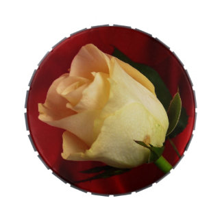 White rose on red background jelly belly tins