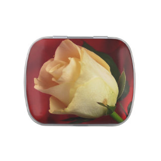 White rose on red background jelly belly candy tins