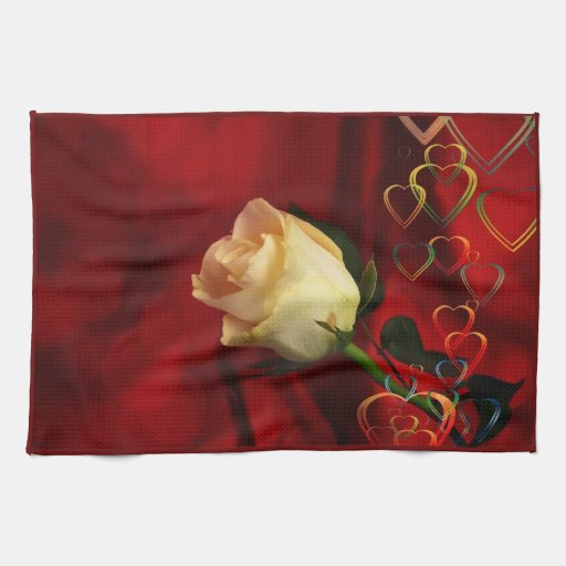 White rose on red background towel