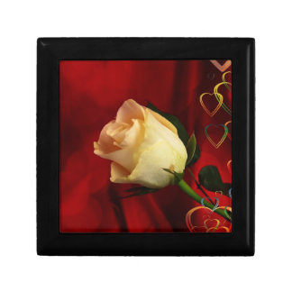 White rose on red background trinket boxes