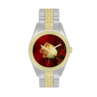 White rose on red background wrist watch