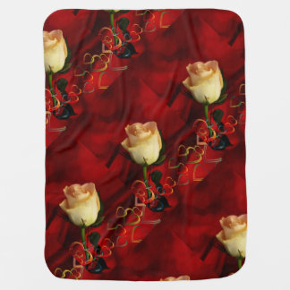 White rose on red background receiving blankets