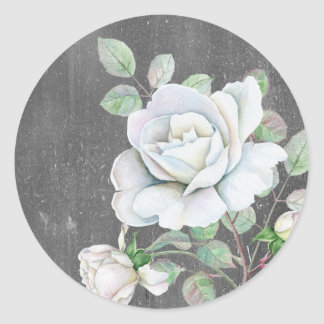 White Rose on Weathered Black Classic Round Sticker