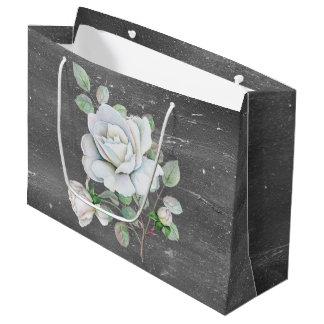 White Rose on Weathered Black Large Gift Bag