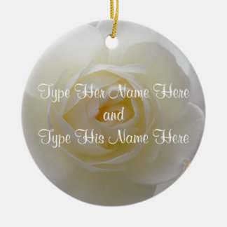 White Rose Ornament Personalized Rose Decorations
