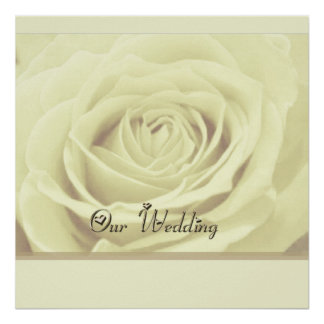 white rose ~ our wedding AUTOGRAPH GUEST POSTER