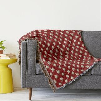 White Rose Pattern (maroon) Throw Blanket
