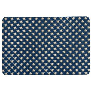 White Rose Pattern (navy blue) Floor Mat