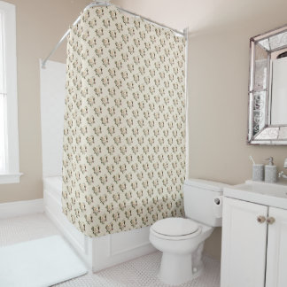 White Rose Pattern Shower Curtain