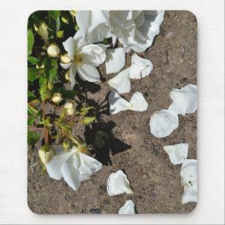 White Rose Petals Mouse Pad