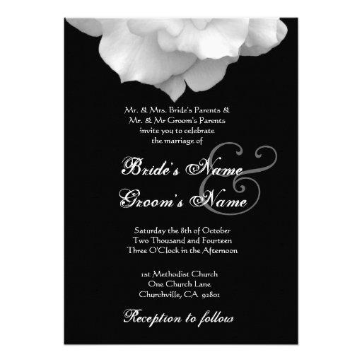 WHITE Rose Petals Wedding Invitation
