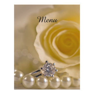 White Rose, Ring and Pearls Wedding Menu 21.5 Cm X 28 Cm Flyer